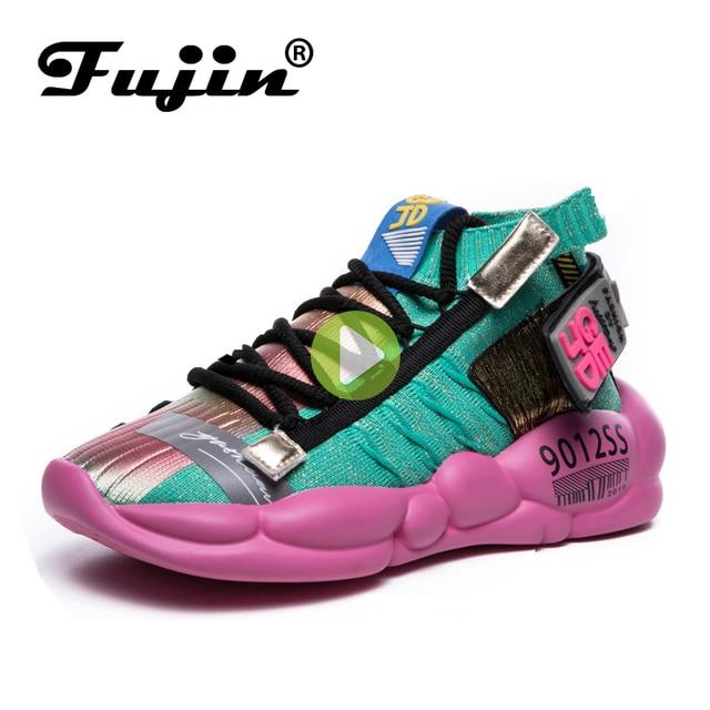 Fujin Womens Sneaker Knitting Breathable Shoe Chunky Platform Sneakers Soft 2020 Spring Summer Sock Women Vulcanized Shoes