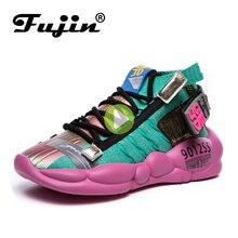 Fujin baskets molles tricotées pour femmes, chaussures respirantes et épaisses, semelle pour printemps et été 2020, vulcanisées