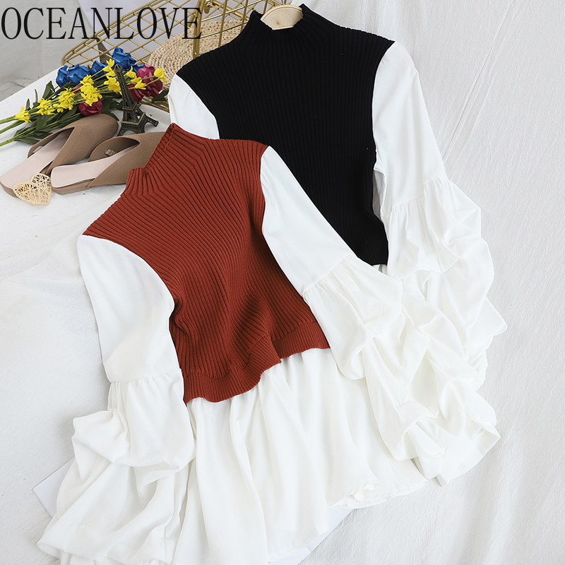 OCEANLOVE Patchwork Fake Two Pieces Pullovers Women 2020 Korean Vintage Ruffles Pull Femme Puff Sleeve Sweaters Sweet 13617
