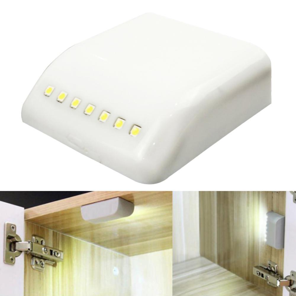 7 LEDs Universal LED Sensor luz cocina ferretería gabinete bisagra luz dormitorio Sala armario inducción armario Luz SHGO-Invisible oculta RFID libre apertura inteligente Sensor armario cerradura armario guardarropa cajón del Gabinete Zapatero cerradura de puerta