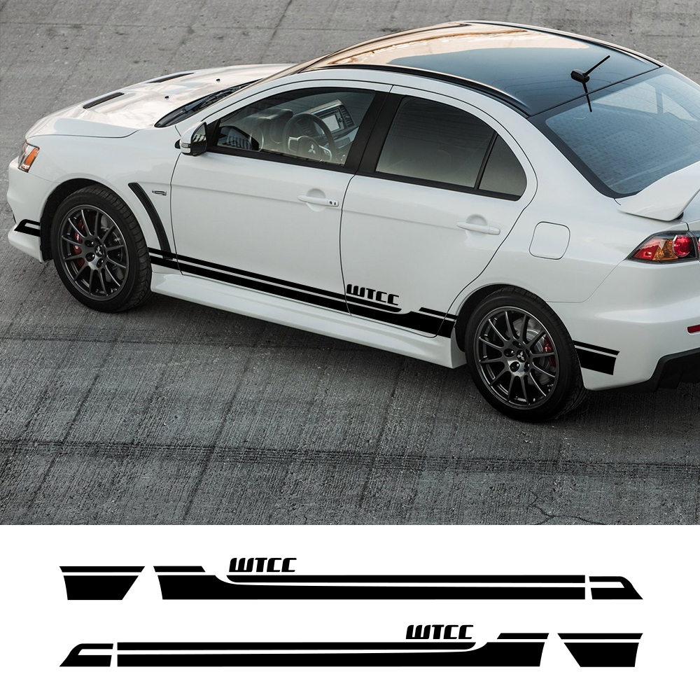 2Pcs For MITSUBISHI Lancer EX Evolution 9 10 Car Side Stickers Auto Vinyl Film Decals