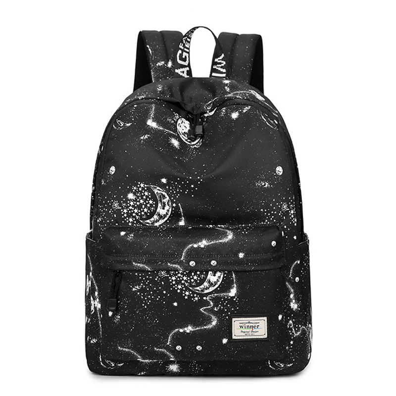 CIKER Fashion Women Backpack Stylish Galaxy Star Universe Space Printing Backpack Girls Black Rucksack School Bags Mochilas Sac