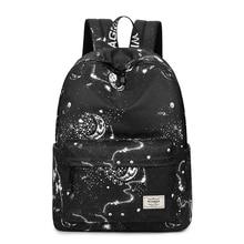 Ciker moda feminina mochila à moda galáxia estrela universo espaço impressão mochila meninas preto sacos de escola sac
