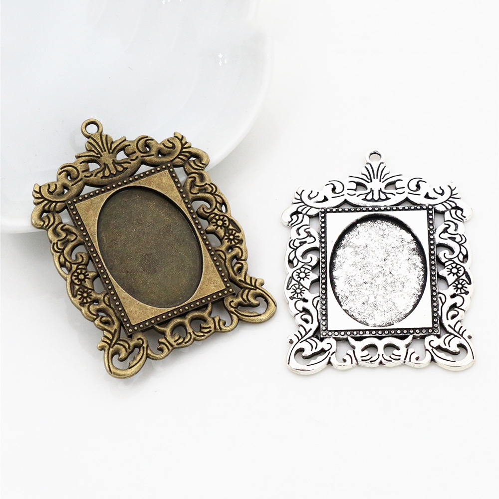 2pcs 18x25mm Inner Size Antique Silver Plated & Bronze Fashion Style  Cameo Cabochon Base Setting Pendant Necklace Findings