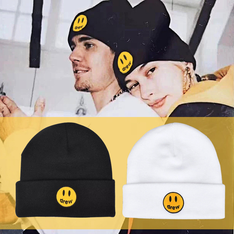 Justin Bieber Drew Cotton Casual Beanies For Men Women Knitted Winter Hat Solid Color Hip-hop Skullies Hat Unisex Cap