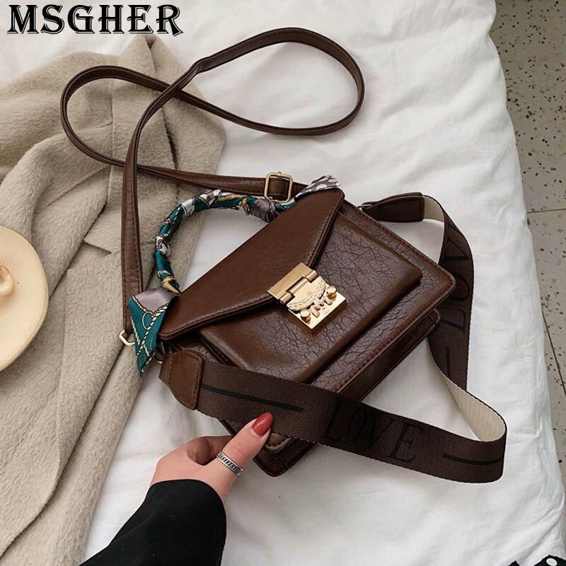 MSGHER одноцветная винтажная женская сумка через плечо Scarve намоточный браслет французский стиль Сумочка с текстурой модная дамская сумка WB3181