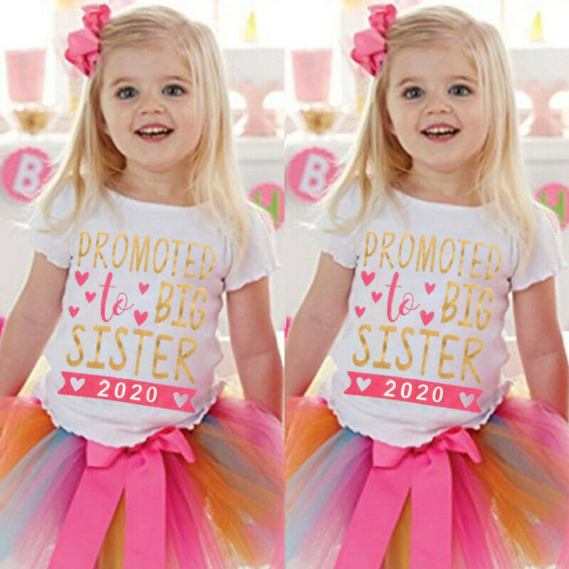 New Kid Baby Girls 2T-7T Toddler 2020 To be Big Sister Short Sleeve T-shirt Clothes title=
