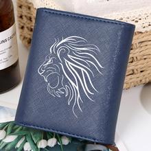 Custom Abstract Sketch Lion Pattern Wallets Women PU Leather Purse Zipper Coin Pocket Short Fold Wallet monederos para mujer