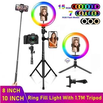 Tongdaytech ściemniania RGB LED Selfie pierścień wypełnić światło lampa pierścieniowa zdjęcie ze statywem do makijażu wideo na żywo Aro De Luz Para Celular tanie i dobre opinie Canon NIKON Sony SAMSUNG NONE Led Smd CN (pochodzenie) ring light Pakiet 1 900g Ring Fill Light rgb Dimmable 2300K-6000K