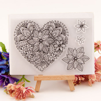 Clear Stamps Sets Heart Flower Metal Cutting Dies Rubber Stamp Transparent Silicone Party card making 2020 Craft DIY - sale item Arts,Crafts & Sewing