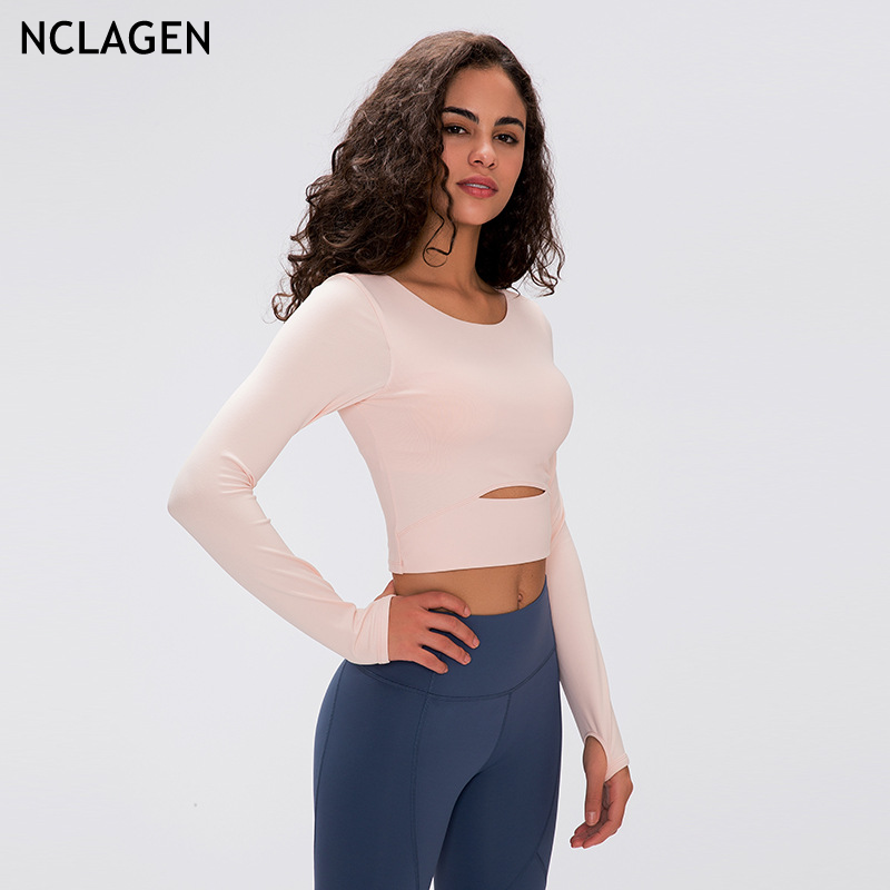 Nclagen Yoga Lange Mouwen Kleding Vrouwen Strakke Fitness Yoga Crop Top Gym Sport Workout Running Sexy Stretchy Training