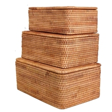 Laundry Basket Wicker Large with Cover Rattan Woven Rattan Storage Basket with Lid for Dirty Clothes Toys Sundries Storage Box