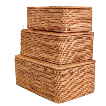 Laundry Basket Wicker Large with Cover Rattan Woven Storage Lid for Dirty Clothes Toys Sundries Box