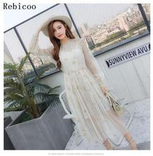 Women Spring Autumn Sexy Sheer O-Neck Lace Dress Embroidery Starry Sky Sweet Party Flare Skater With Lining Dresses недорого