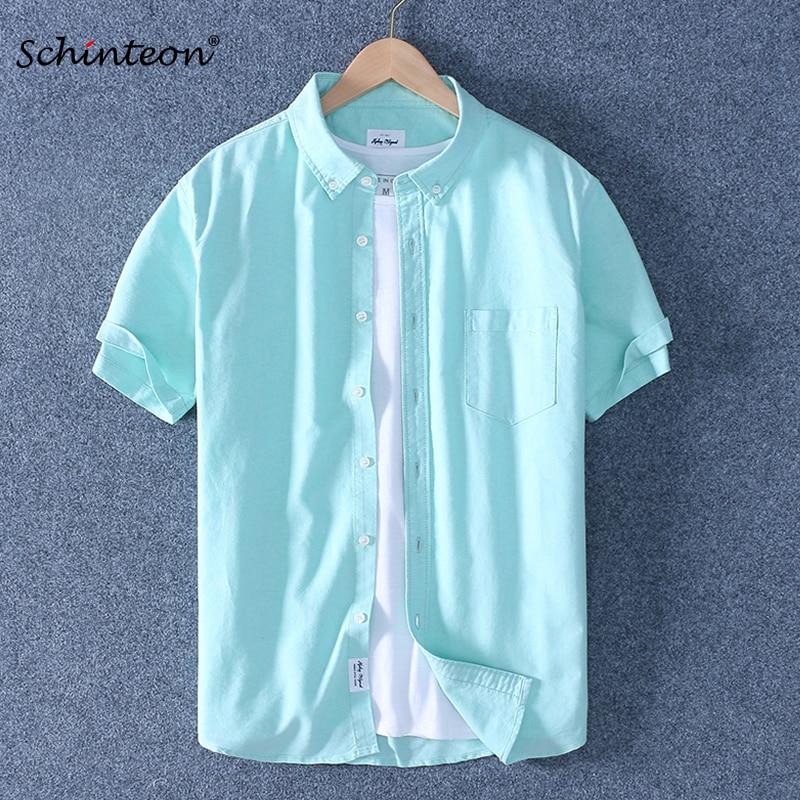 2020 Schinteon Men Summer 100% Cotton Shirt Oxford Short Sleeved Smart Casual Slim Shirt Turn-down Collar Brand New Arrival