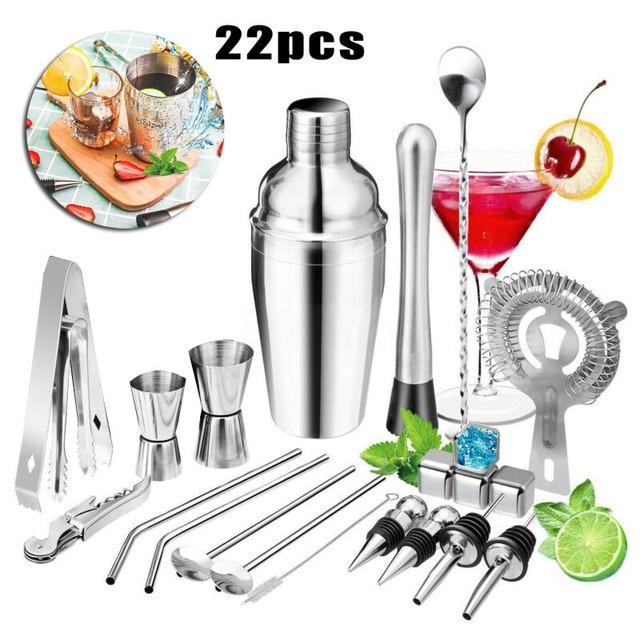 22PCS Pro Cocktail Shaker Set Drink Maker Mixer Bar Tool Martini/Bartender Kit