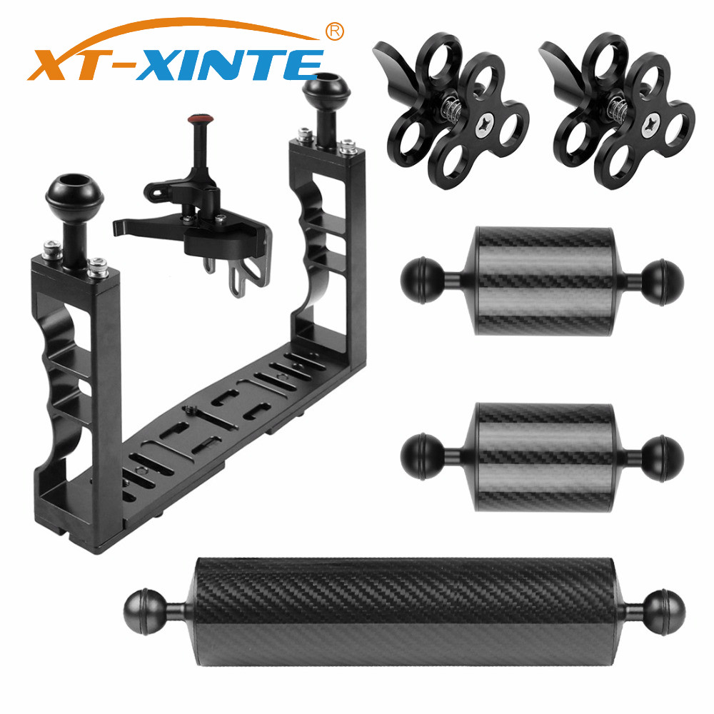 XT-XINTE Aluminum Underwater Diving Tray Kit Light Extension Arm Bracket System With Handle Grip Stabilizer Rig Sport SLR Camera