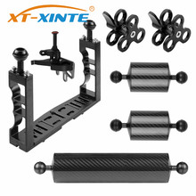 XT XINTE Aluminum Underwater Diving Tray Kit Light Extension Arm Bracket System with Handle Grip Stabilizer Rig Sport SLR Camera