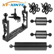XT XINTE 알루미늄 수중 다이빙 트레이 키트 손잡이 그립 안정제 조작 스포츠 SLR 카메라와 라이트 확장 암 브래킷 시스템