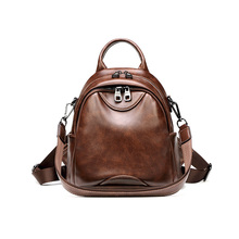 Women vintage small backpack wax leather soft PU waterproof black brown casual shoulders bag with tote