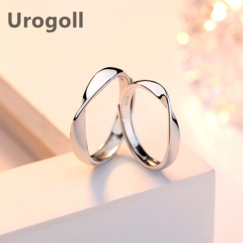 Fashion Lover Rings 100% Real 925 Sterling Silver Rings Wedding Rings Mobius Ring Couple Ring For Valentine's Day Present
