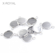 X-ROYAL 20Pcs/lot Stainless Steel Double Hole Cabochon Blank Bases Connector Inner Dia 8mm 10mm 12mm Diy Earring Charms Settings 20pcs 12mm heart inner size stainless steel material simple style cabochon base cameo setting charms pendant tray t7 41