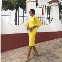 Summer Elegant Office Lady Midi Dress Casual Mesh Sleeves Skinny Party Pencil Dress Sexy Flare Sleeve Backless Bodycon Dress цена