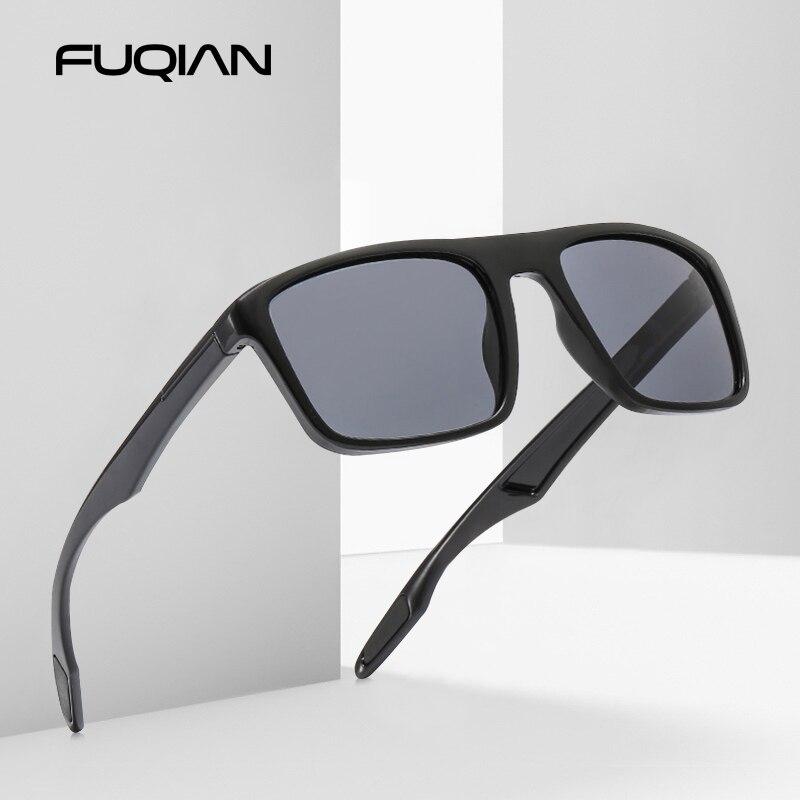 FUQIAN Vintage Square Men Sunglasses Polarized Fashion Plastic Women Sun Glasses Stylish Driving Shades Sports Eyewear UV400