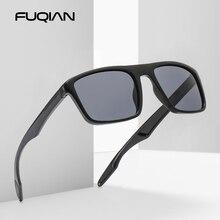 FUQIAN Vintage Square Men Sunglasses Polarized Fashion Plast