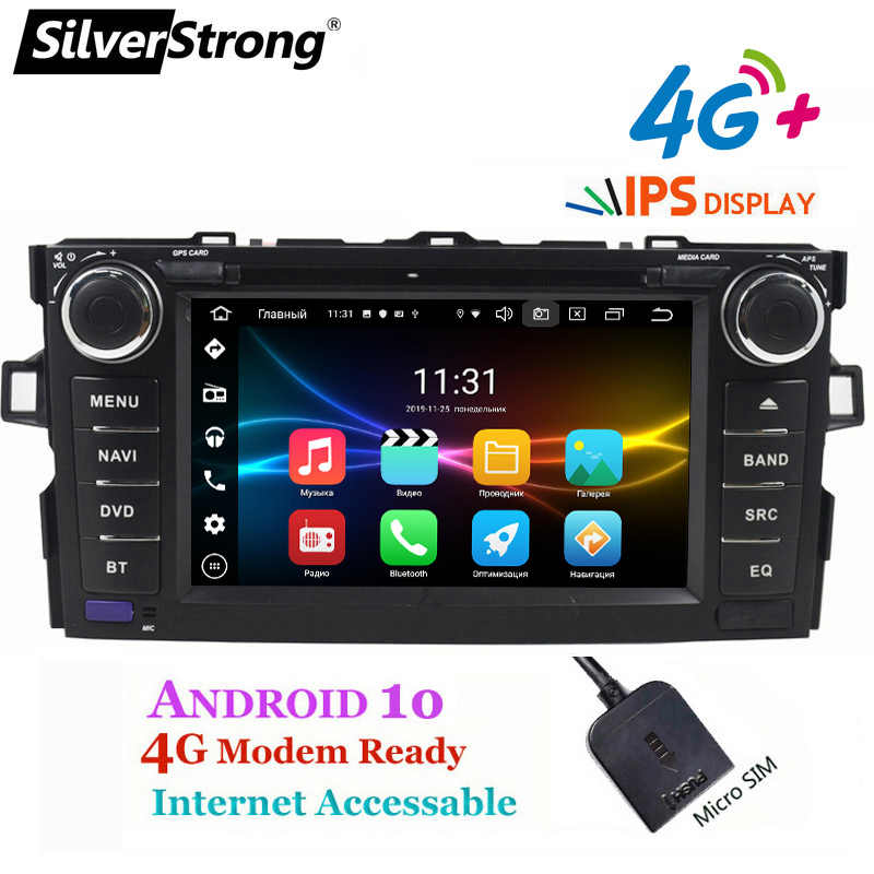 SilverStrong 4G Carplay 32GB Android10.0 voiture 2DIN pour TOYOTA AURIS hayon 4G sim Modem voiture DVD AURIS