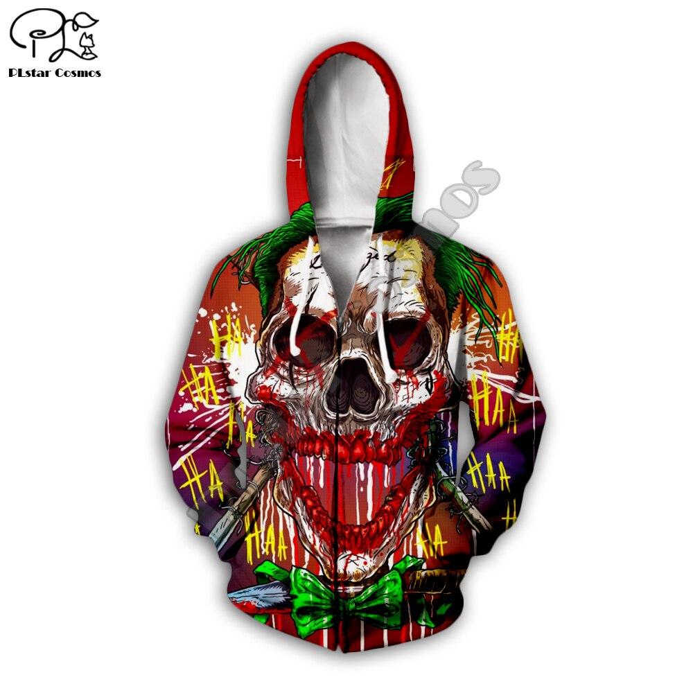 Men women 2019 haha joker art Hoodies 3D halloween skull Print Sweatshirt Funny Joaquin Phoenix Harajuku zipper pullover tshirt in Hoodies amp Sweatshirts from Men 39 s Clothing
