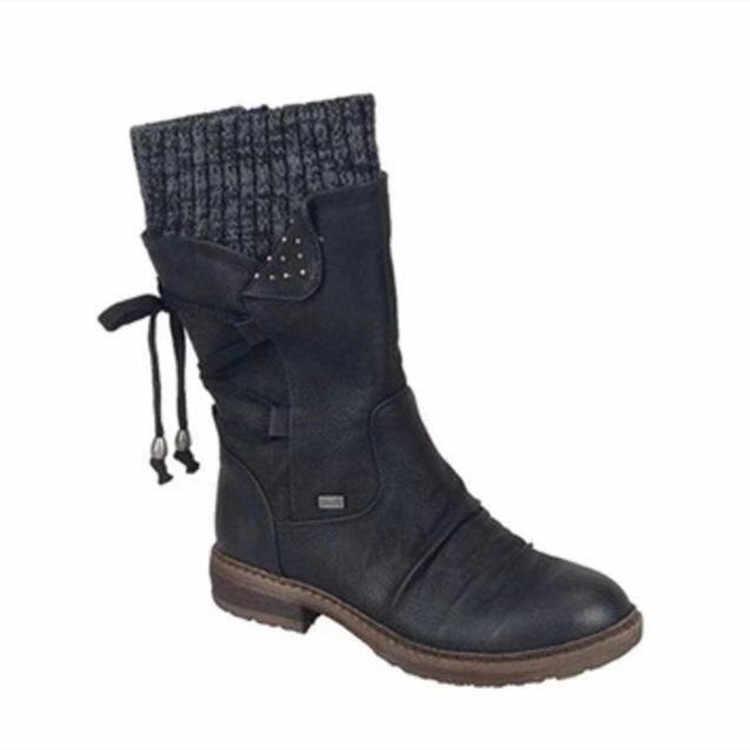 Kadın orta buzağı çizmeler kış kadın sıcak Zip kar botları kadın PU deri katı dikiş platform ayakkabılar kadın rahat botlar