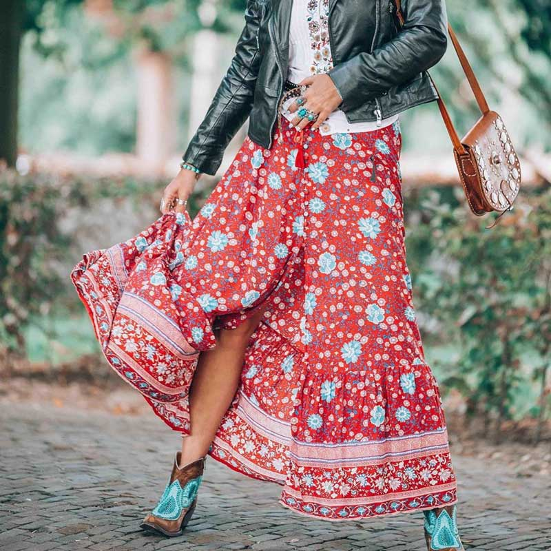BOHO INSPIRED Button Down Skirt Elastic Waist Tassle Tied Long Skirt Rayon Wine Red Floral Print Skirts Womens Maxi Faldas 2019