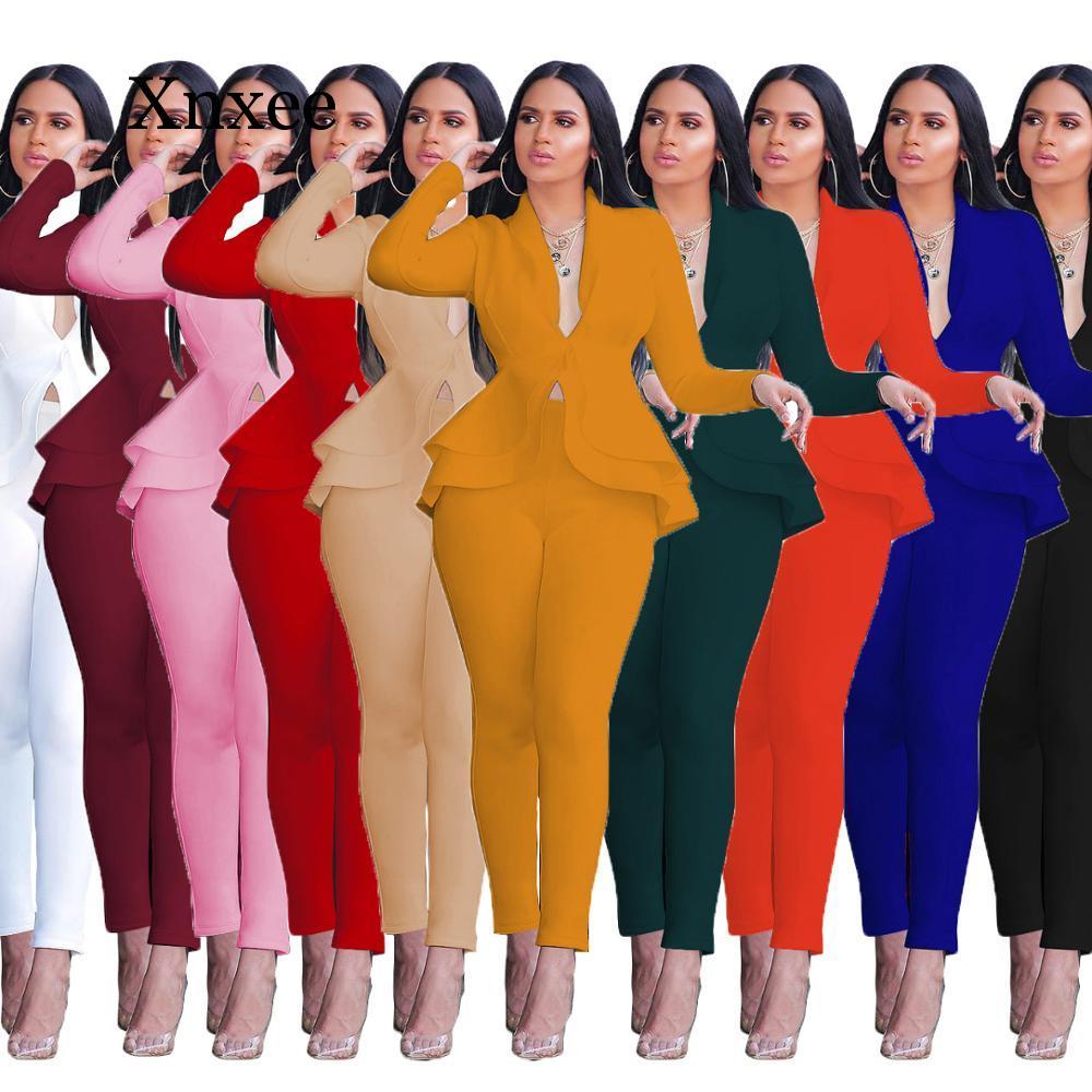 Multicolor Women Winter Women's Set Tracksuit Full Sleeve Ruffles  Pencil Pants Suit Two Piece Set Office Lady Outfits Uniform