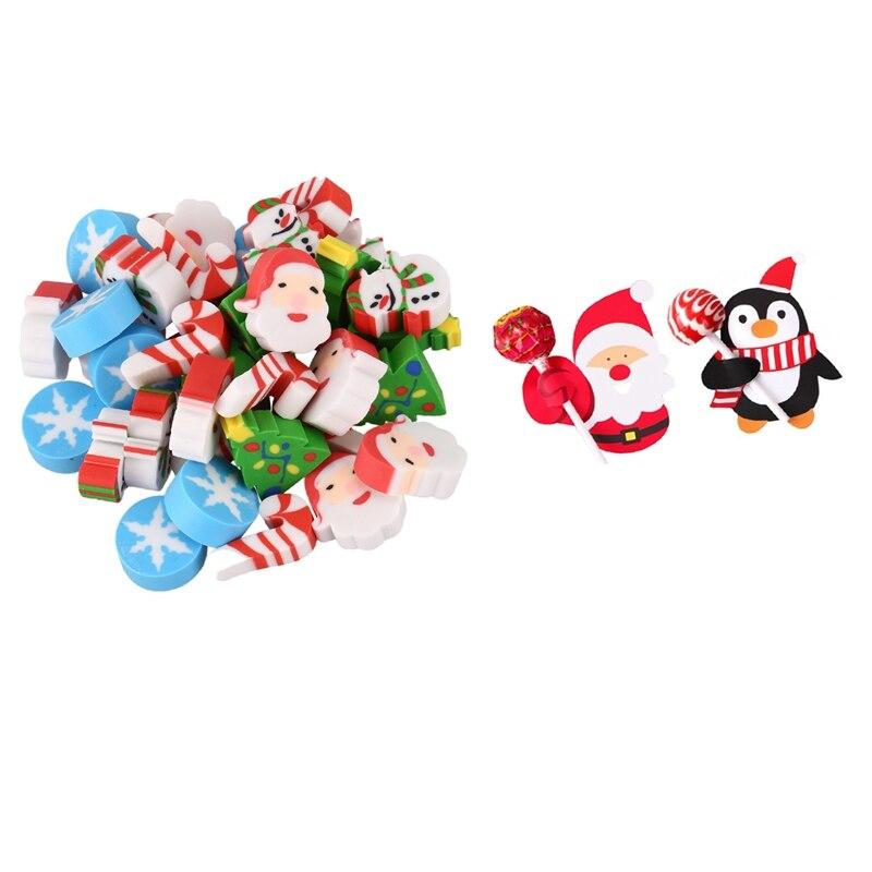 2 Set Christmas Gift: 1 Set 35 Pcs Eraser Santa Claus Christmas Tree Snowflake Calendar & 1 Set 48-50 Pcs LolliPOP-Decoration Ca