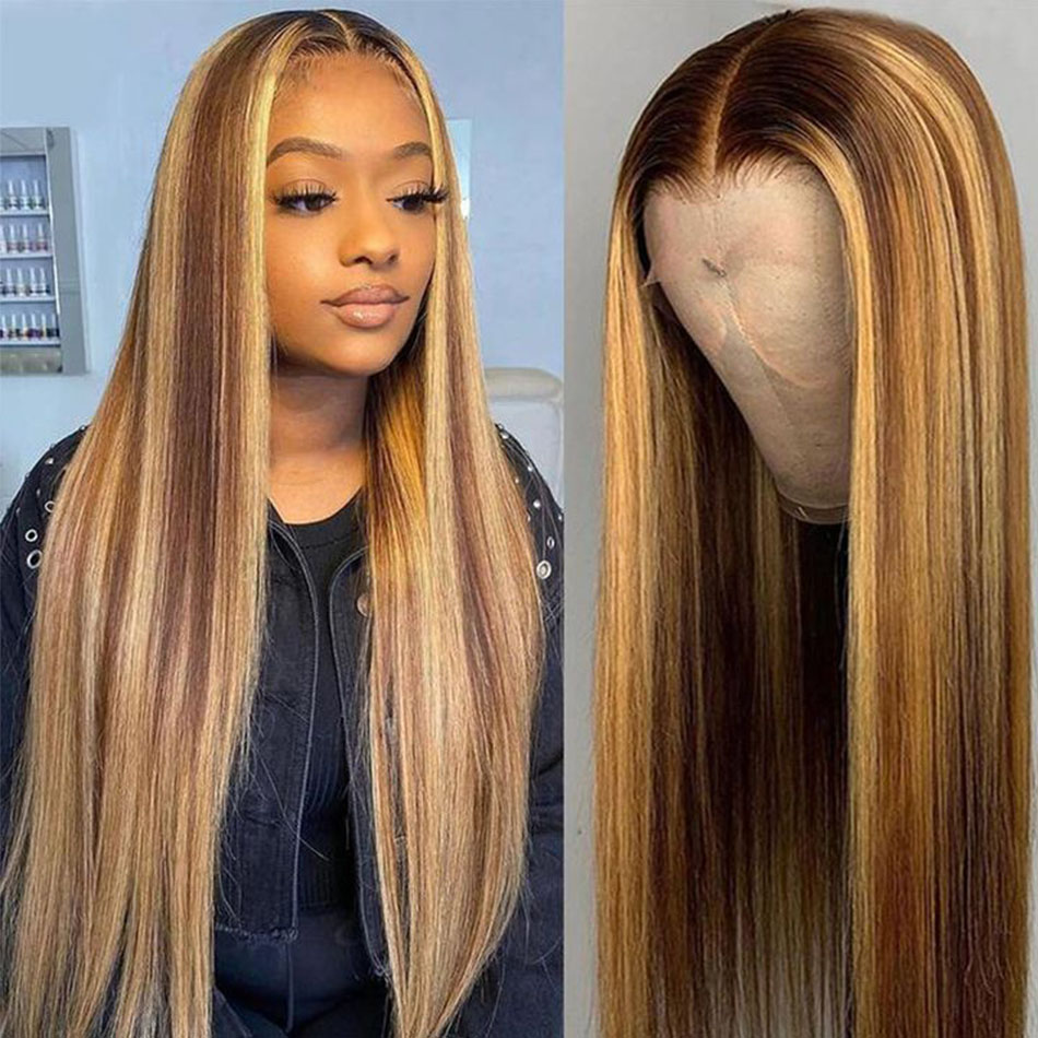 Transparent Lace Front  Wig Straight Highlight Honey Blonde Piano Color 13X6x1 Pre Plucked  Hair Wigs 150%Density 1
