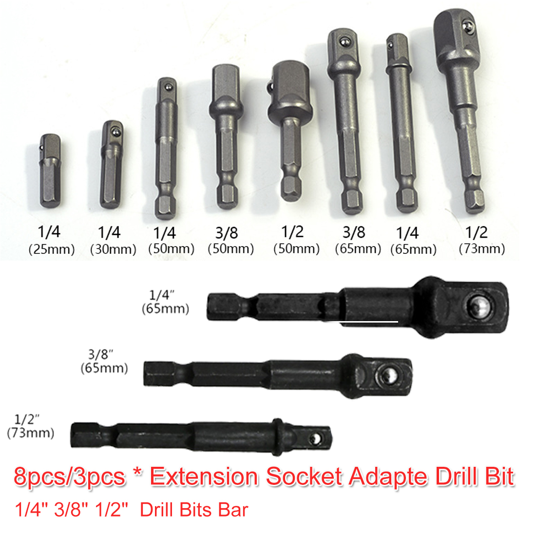 Hex Drill 8pcs/ 3pcs Socket Adapte Bit Set Nut Driver Power Shank 1/4