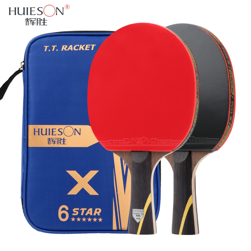 Huieson New Upgraded 2Pcs Table Tennis Racket 6 Star Carbon Fiber Blade Sticky Pimples-in Rubber Ping Pong Racket Bat With Cover