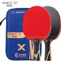 Huieson nueva raqueta de tenis de mesa mejorada 6 estrellas hoja de fibra de carbono pegajosos granos-en Goma Ping Pong raqueta bate con cubierta