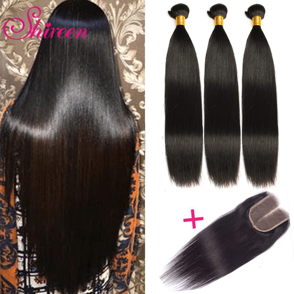 Indian Straight Hair Bundles 3Bundles With Closure Human Hair Bundles With Closure 4