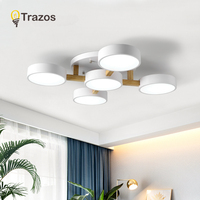 TRAZOS Nordic Wood Ceiling Lights For Living Room Decor 220V Round Metal LED Ceiling Lamp Surface Mounted Lighting plafonnier