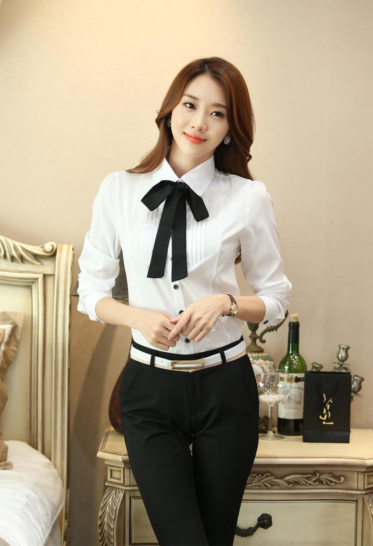 Korean Fashion Chiffon Women Blouses Long Sleeve Shirt and Blouse Office Lady Blusas Largas Plus Size Autumn Womens Tops