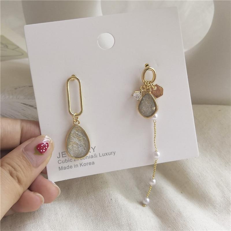 Korean Cute Acrylic Zircon Pearl Tassel Drop Earrings Chic Asymmetric Pendent Fashion Earrings for Women Girls Ear Jewelry Gift
