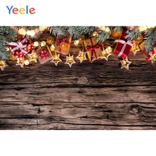 Yeele Christmas Backdrop Wood Board Gift Light Winter Snow Photography Background Photo Studio Photobooth Shoot Photophone Props
