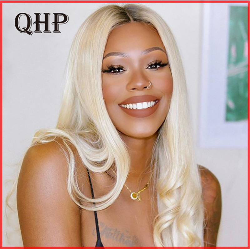 Straight Lace Front Human Hair Wigs 130% / 150% /180% Density Blonde 1B/27 Brazilian Remy Pre-Plucked Hairline Human Hair Wigs