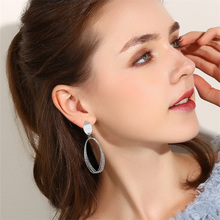 Alloy Big Hoop Earrings Oval Stud Long Geometric Temperament Jewelry Women Trendy OL Multilayer Exaggerated Hollow Ear Rings