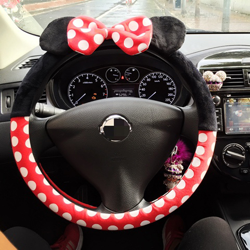 Creative Car Cute Steering Wheel Cover Cartoon Short Plush Handlebar For Antifreeze Warm Winter Plush Steering Wheel Cover