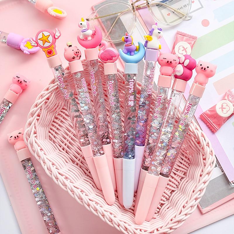 1 Pcs Kawaii Unicorn Pen Cartoon Cat Claw Creative Oil Sand Pens 0.5mm Black Gel Pen For Writing Stationery Girls Gifts Learning