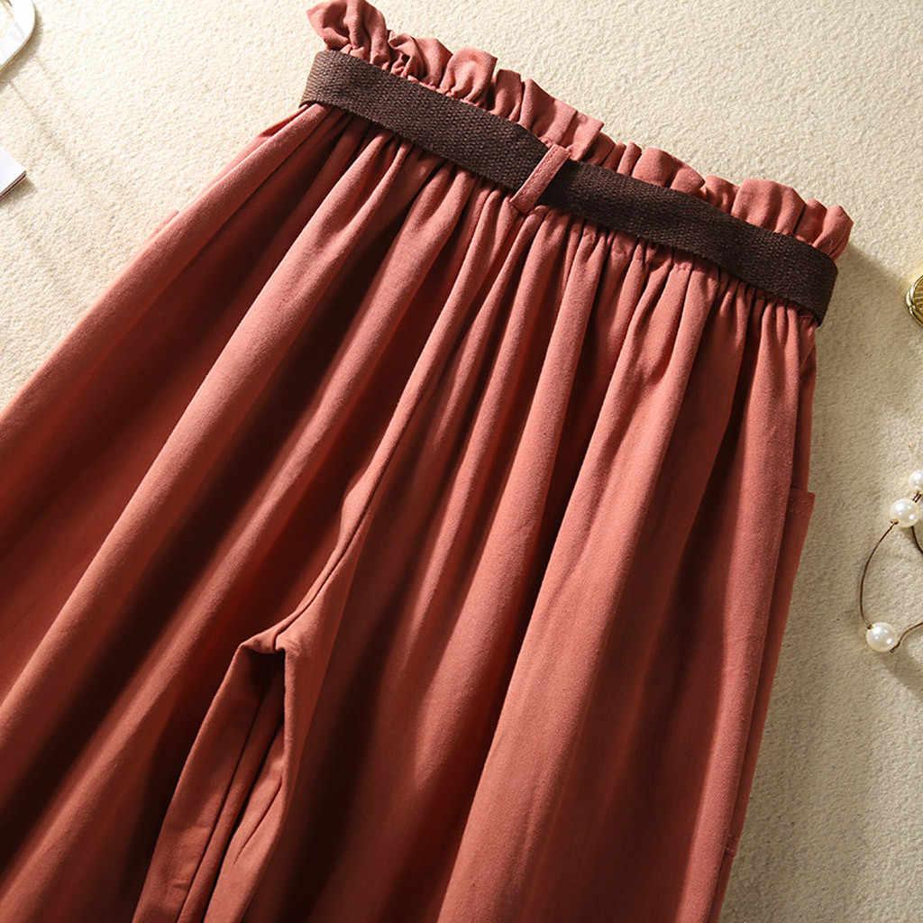Baggy Broek Vrouwen Hoge Taille Solid Lange Trekkoord Pocket Sjerpen Mode Toevallige Losse Broek Pantalones Mujer Cintura Alta OY41 *