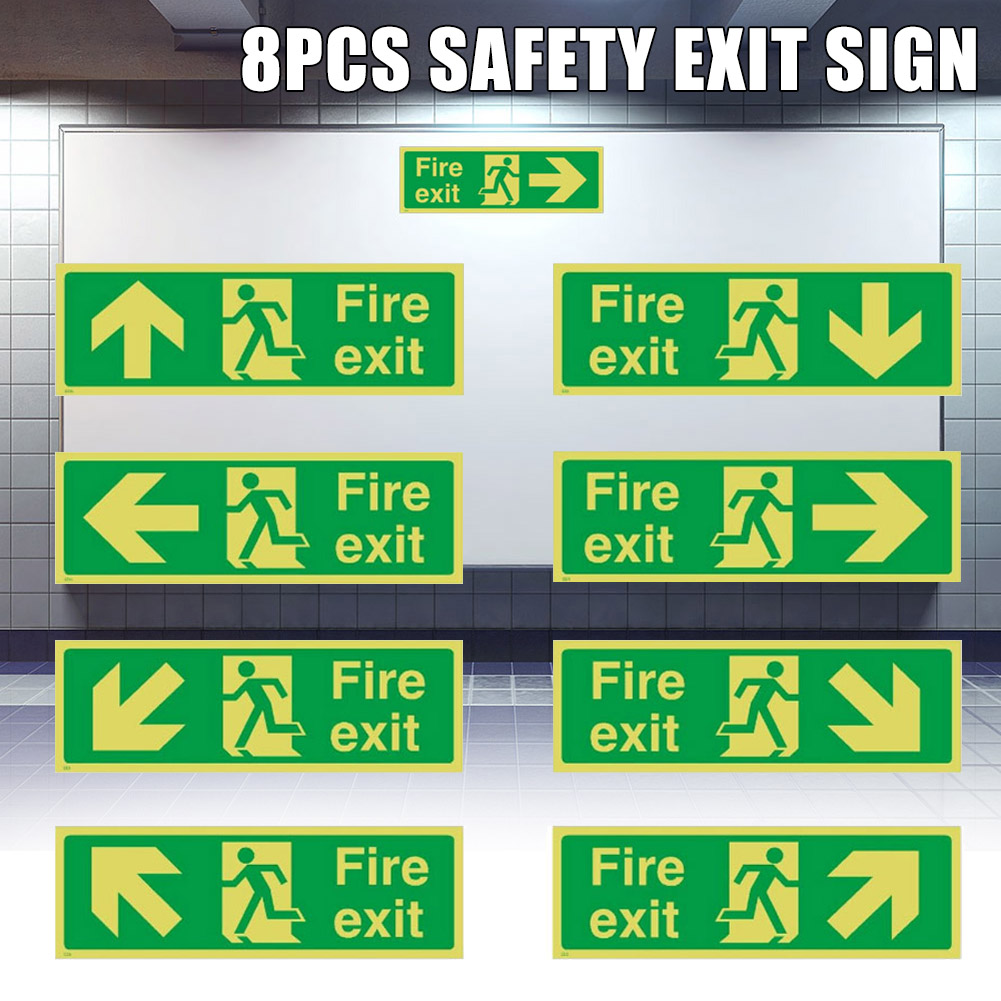 8pcs Photoluminescent Fire Exit Sign 300x100mm Plastic All Direction Arrows NC99